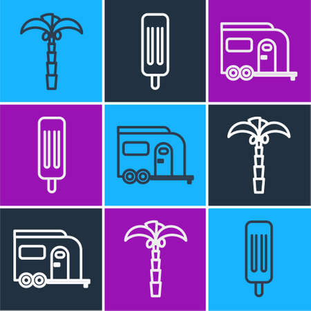 Set line Tropical palm tree, Rv Camping trailer and Ice cream icon. Vector. Vectores