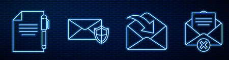 Set line Envelope, Document and pen, Envelope with shield, Delete envelope and Mobile and envelope. Glowing neon icon on brick wall. Vector illustration