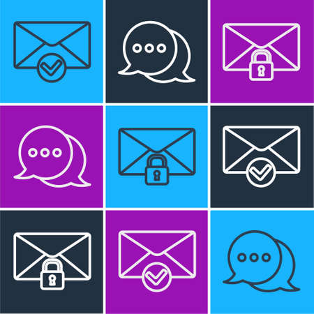 Set line Envelope and check mark, Mail message lock password and Speech bubble chat icon. Vector.