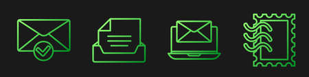 Set line Laptop with envelope, Envelope and check mark, Drawer with document and Postal stamp. Gradient color icons. Vector.