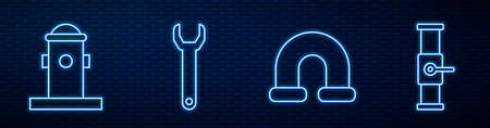 Set line Industry metallic pipe, Fire hydrant, Wrench spanner and Industry pipe and valve. Glowing neon icon on brick wall. Vector. Stock Illustratie