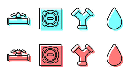 Set line Industry metallic pipe, Industry pipe and valve, Manhole sewer cover and Water drop icon. Vector. Stock Illustratie
