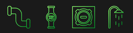 Set line Manhole sewer cover, Industry metallic pipe, Water meter and Shower. Gradient color icons. Vector. 向量圖像