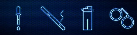 Set line Lighter, Pipette, Cigarette and Handcuffs. Glowing neon icon on brick wall. Vector. 일러스트