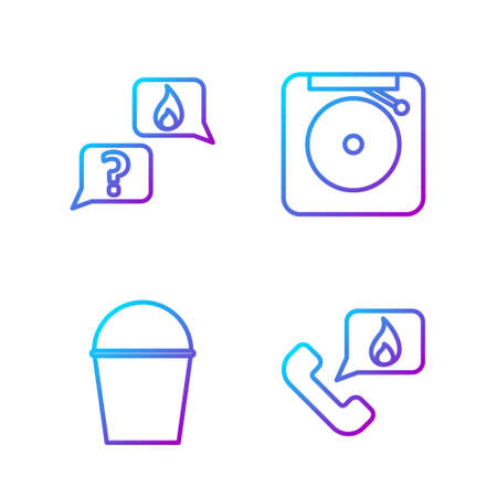 Set line Telephone with emergency call 911, Fire bucket, Phone with emergency call 911 and Ringing alarm bell. Gradient color icons. Vector. Ilustrace