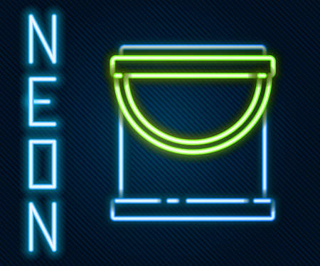 Glowing neon line Paint bucket icon isolated on black background. Colorful outline concept. Vector Illustration.  イラスト・ベクター素材