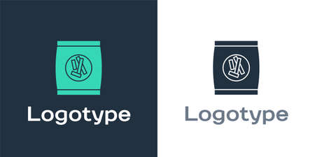 Logotype Hard bread chucks crackers icon isolated on white background. Logo design template element. Vector Illustration.