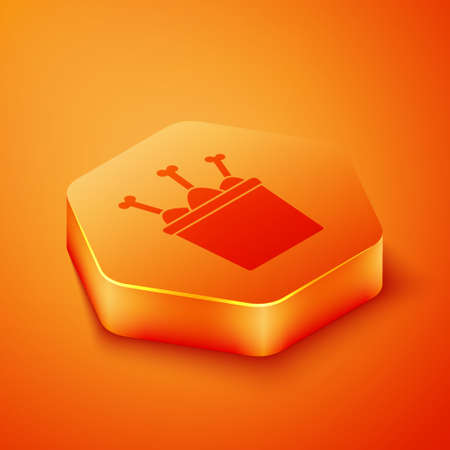Isometric Chicken leg in package box icon isolated on orange background. Chicken drumstick. Orange hexagon button. Vector Illustration. Ilustrace