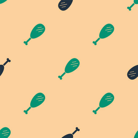 Green and black Chicken leg icon isolated seamless pattern on beige background. Chicken drumstick. Vector Illustration. Vectores