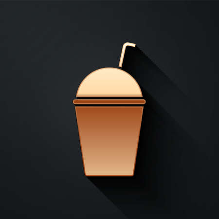 Gold Milkshake icon isolated on black background. Plastic cup with lid and straw. Long shadow style. Vector Illustration. Ilustrace