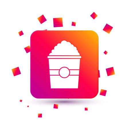 White Popcorn in cardboard box icon isolated on white background. Popcorn bucket box. Square color button. Vector Illustration.