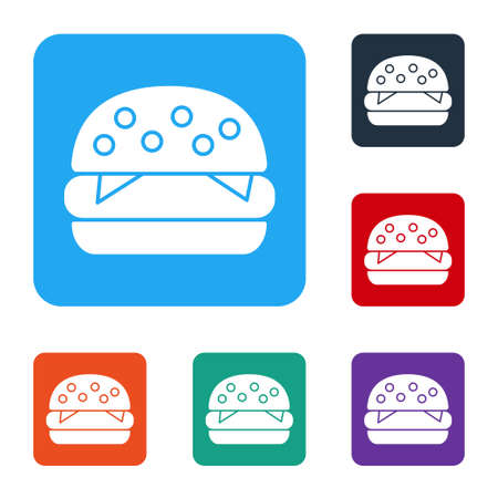 White Burger icon isolated on white background. Hamburger icon. Cheeseburger sandwich sign. Fast food menu. Set icons in color square buttons. Vector Illustration.
