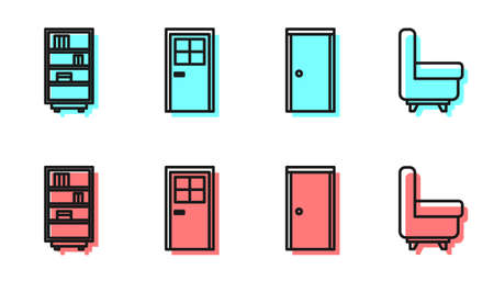 Set line Closed door, Library bookshelf, Closed door and Armchair icon. Vector. Ilustrace