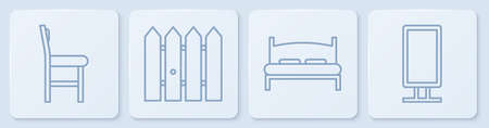 Set line Chair, Big bed, Garden fence wooden and Big full length mirror. White square button. Vector. Çizim