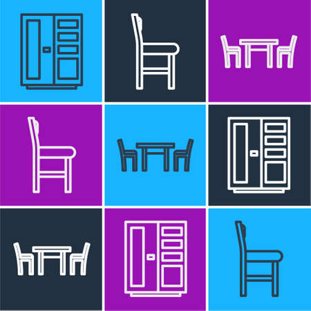 Set line Wardrobe, Wooden table with chair and Chair icon. Vector.