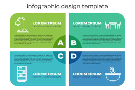 Set line Library bookshelf, Table lamp, Washbasin with water tap and Wooden table with chair. Business infographic template. Vector.