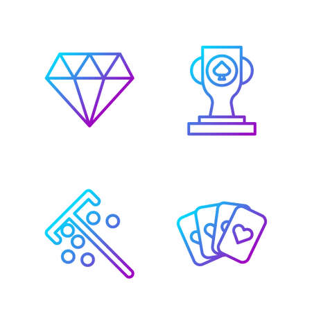 Set line Deck of playing cards, Stick for chips, Diamond and Casino poker trophy cup. Gradient color icons. Vector. Ilustração