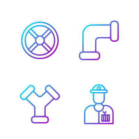 Set line Plumber, Industry metallic pipe, Industry valve and Industry metallic pipe. Gradient color icons. Vector. Stock Illustratie