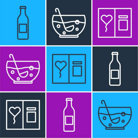 Set line Beer bottle, Greeting card and Mixed punch in bowl icon. Vector.