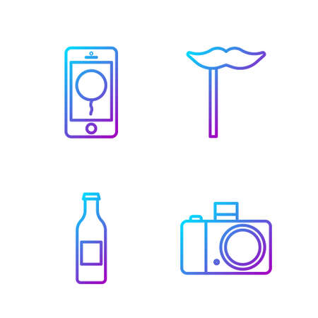 Set line Photo camera, Beer bottle, Mobile with birthday message and Paper mustache on stick. Gradient color icons. Vector.