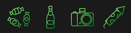 Set line Photo camera, Candy, Champagne bottle and Firework rocket. Gradient color icons. Vector. Ilustração