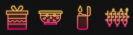 Set line Lighter, Gift box, Mixed punch in bowl and Christmas lights. Glowing neon icon. Vector. 스톡 콘텐츠 - 150645008