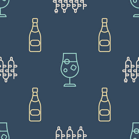Set line Christmas lights, Champagne bottle and Cocktail and alcohol drink on seamless pattern. Vector. Illustration