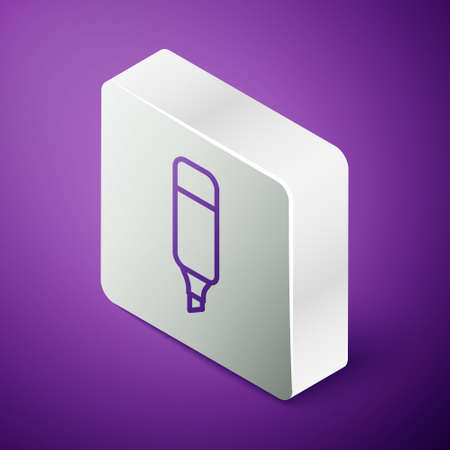 Isometric line Marker pen icon isolated on purple background. Silver square button. Vector Illustration.