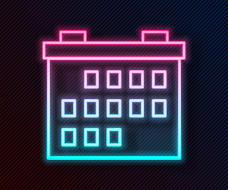 Glowing neon line Calendar icon isolated on black background. Event reminder symbol. Vector Illustration. 向量圖像