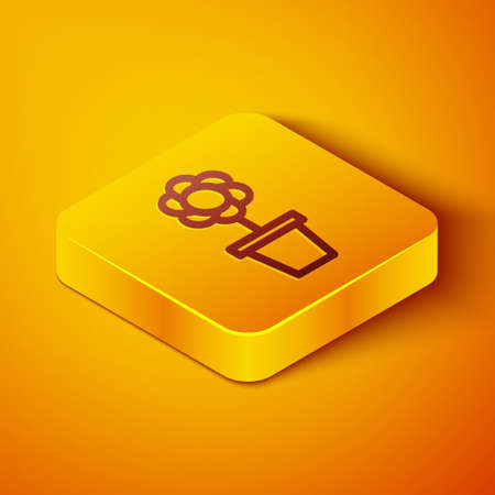 Isometric line Flower in pot icon isolated on orange background. Plant growing in a pot. Potted plant sign. Yellow square button. Vector Illustration.
