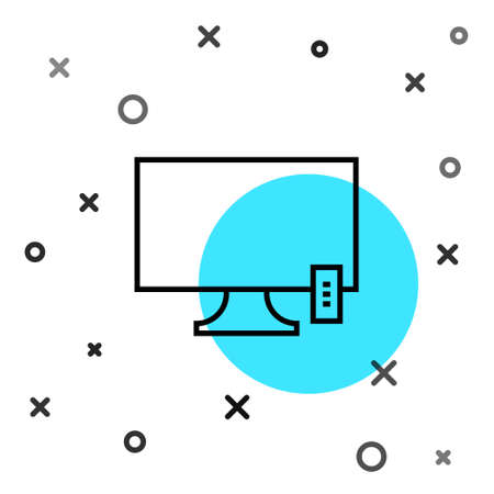 Black line Smart Tv icon isolated on white background. Television sign. Random dynamic shapes. Vector Illustration. 向量圖像