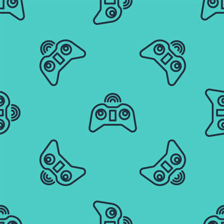 Black line Wireless gamepad icon isolated seamless pattern on green background. Game controller. Vector Illustration.