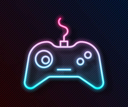 Glowing neon line Gamepad icon isolated on black background. Game controller. Vector Illustration. Illusztráció