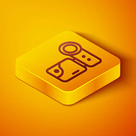 Isometric line Cinema camera icon isolated on orange background. Video camera. Movie sign. Film projector. Yellow square button. Vector Illustration.