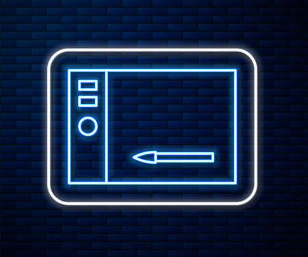 Glowing neon line Graphic tablet icon isolated on brick wall background. Vector Illustration.