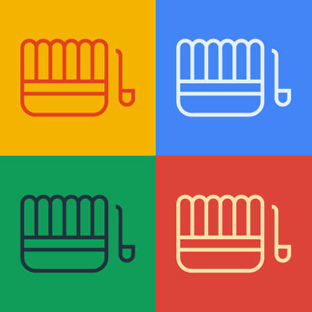 Pop art line Sauna bucket and ladle icon isolated on color background. Vector Illustration. Vectores