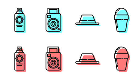 Set line Man hat with ribbon, Sunscreen spray bottle, Photo camera and Ice cream in waffle cone icon. Vector. Ilustração
