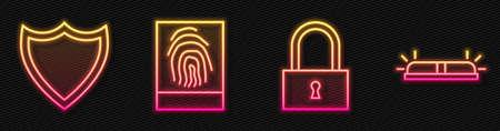 Set line Lock, Shield, Fingerprint and Flasher siren. Glowing neon icon. Vector.