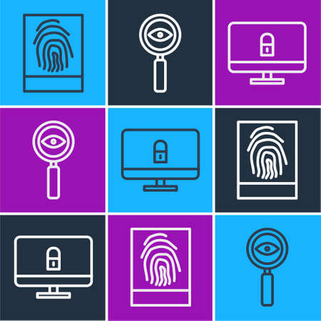 Set line Fingerprint, Lock on computer monitor and Magnifying glass Search icon. Vector. Vectores