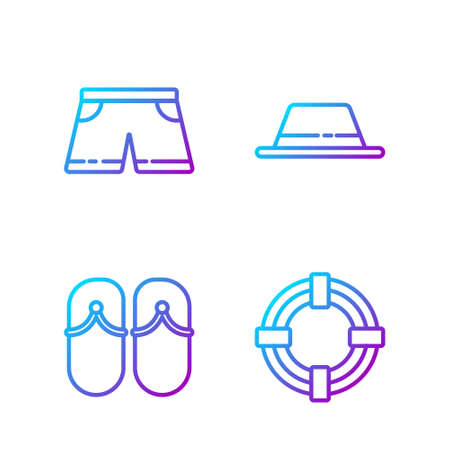 Set line Lifebuoy, Flip flops, Swimming trunks and Man hat with ribbon. Gradient color icons. Vector.