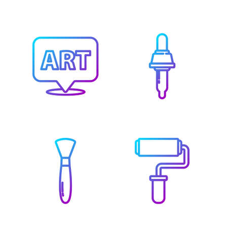Set line Paint roller brush, Paint brush, Speech bubble with text art and Pipette. Gradient color icons. Vector.