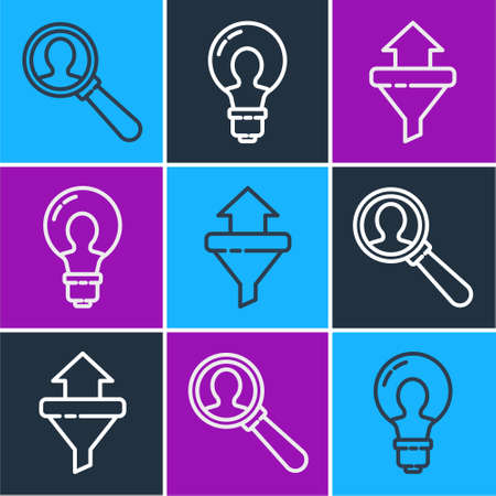 Set line Magnifying glass for search a people, Sales funnel with arrows and Light bulb with concept of idea icon. Vector. Vectores