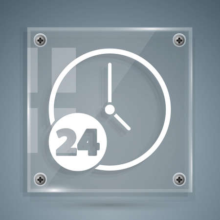 White Clock 24 hours icon isolated on grey background. All day cyclic icon. 24 hours service symbol. Square glass panels. Vector Illustration.