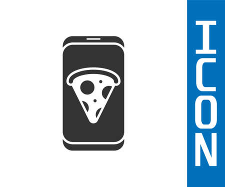 Grey Food ordering pizza icon isolated on white background. Order by mobile phone. Restaurant food delivery concept. Vector Illustration.