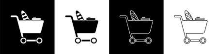 Set Shopping cart and food icon isolated on black and white background. Food store, supermarket. Vector Illustration.
