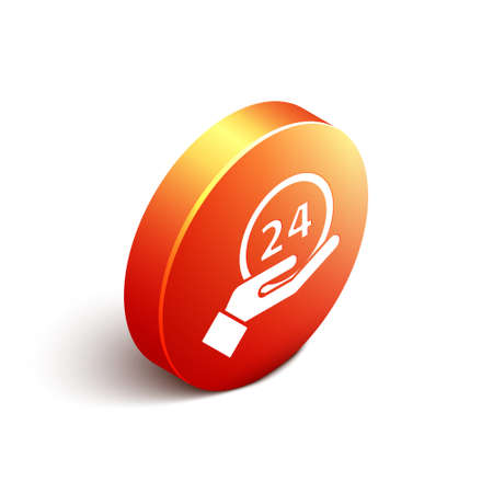Isometric Clock 24 hours icon isolated on white background. All day cyclic icon. 24 hours service symbol. Orange circle button. Vector Illustration.
