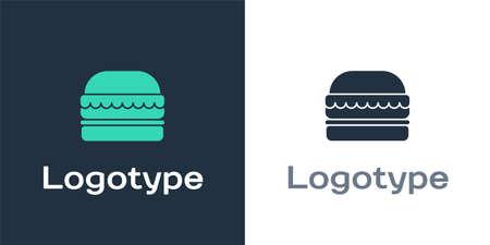 Logotype Burger icon isolated on white background. Hamburger icon. Cheeseburger sandwich sign. Fast food menu. Logo design template element. Vector Illustration.