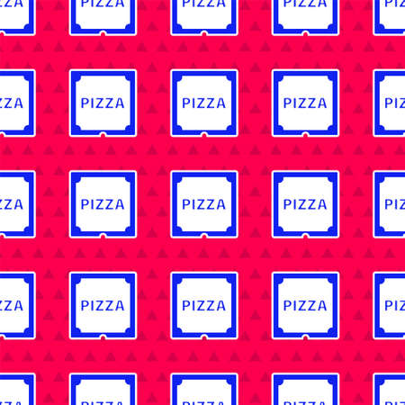 Blue Pizza in cardboard box icon isolated seamless pattern on red background. Box with layout elements. Vector Illustration.