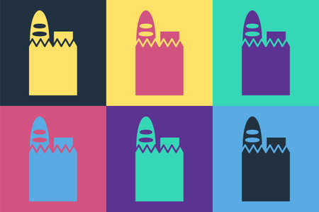 Pop art Paper shopping bag and food icon isolated on color background. Food store, supermarket. Vector Illustration.