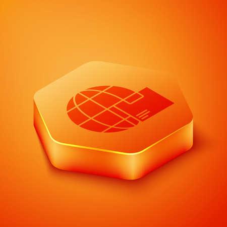 Isometric Worldwide shipping and cardboard box icon isolated on orange background. Orange hexagon button. Vector Illustration. Illustration